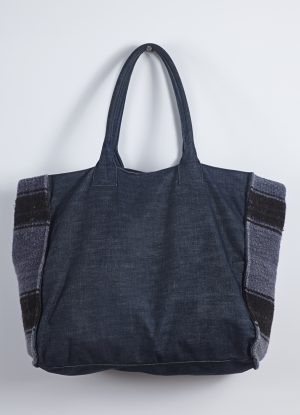 Raw Denim Tote with Blanket Detail in Midnight