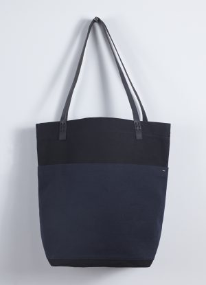 Heavy Canvas Market Bag in Black with Midnight