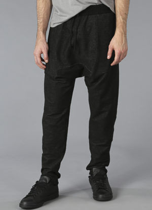 Knit Denim Drop Rise Sweatpants In Black