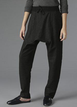 Knit Denim Drop Rise Sweatpants in Black