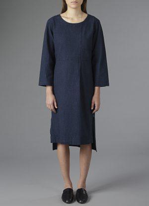 Single Pleat Scoop Dress In Indigo Dobbie