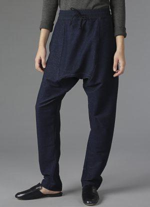 Knit Denim Drop Rise Sweatpants in Midnight Blue