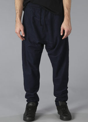 Knit Denim Drop Rise Sweatpants In Midnight Blue