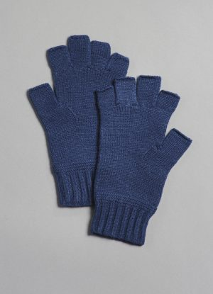 Cashmere Fingerless Gloves in Denim Blue