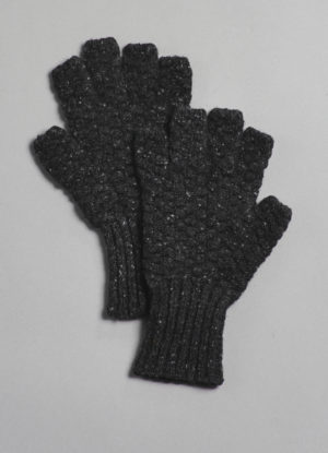 Donegal Mohair, Angora, & Merino Fingerless Gloves in Charcoal