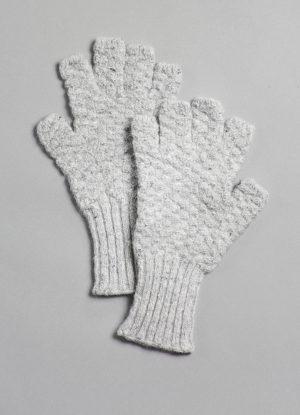 Donegal Mohair, Angora, & Merino Fingerless Gloves in Fog