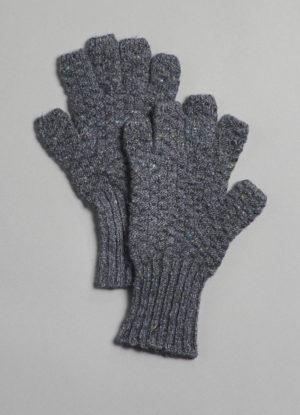Donegal Mohair, Angora, & Merino Fingerless Gloves in Steel