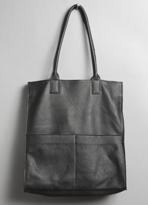 Raw Edge Leather Market Tote in Black