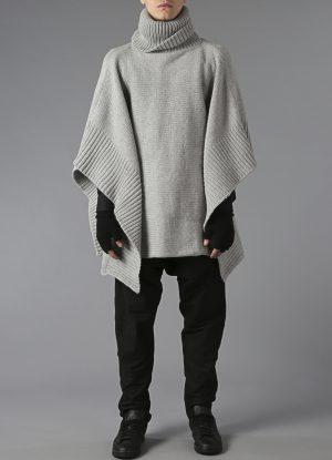 Lanecardate Wool Turtleneck Poncho In Fog