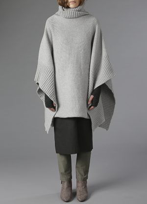 Lanecardate Wool Turtleneck Poncho in Fog