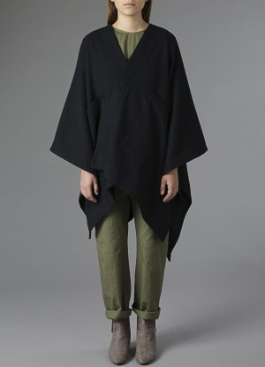 Channel Weave Panel Poncho in Midnight Blue