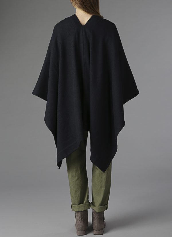 Channel Weave Panel Poncho in Black
