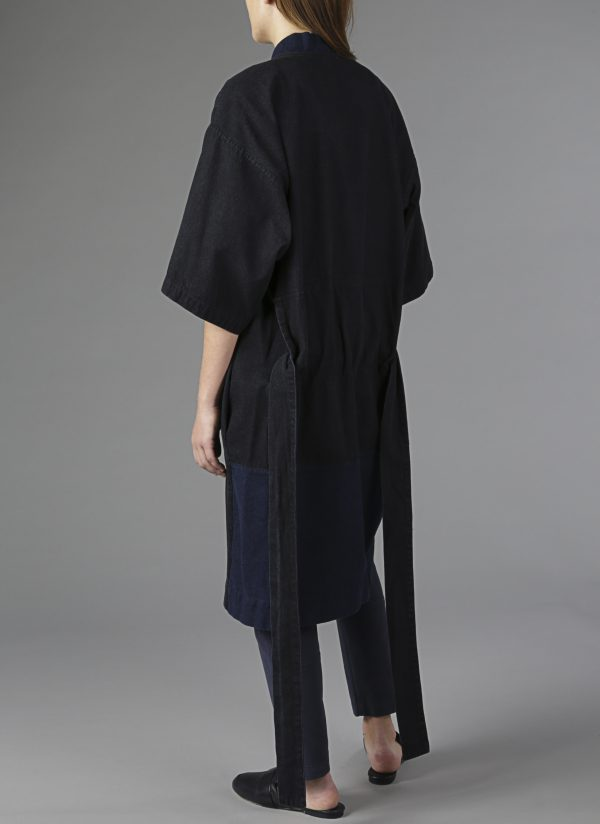 Panel Robe in Denim Back View