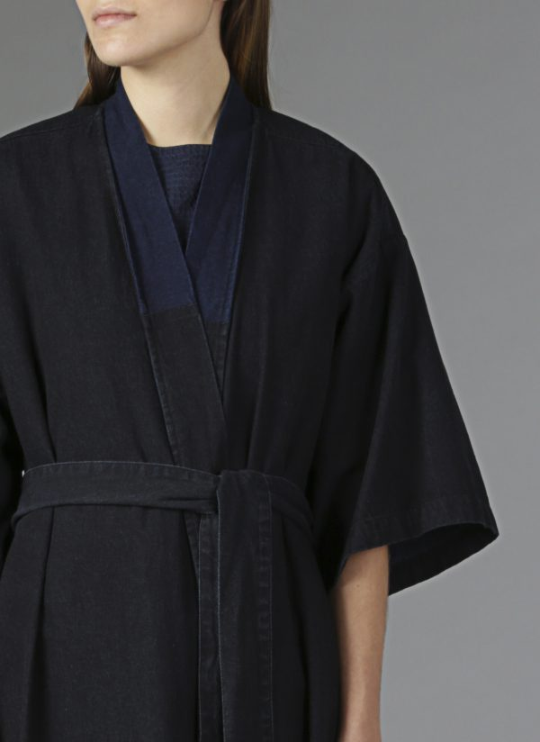 Panel Robe in Denim Close Up