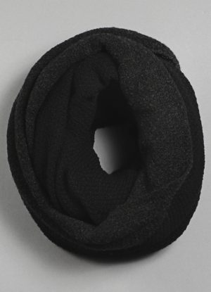 Stitch Two-Tone Circular Scarf in Midnight Black & Charcoal