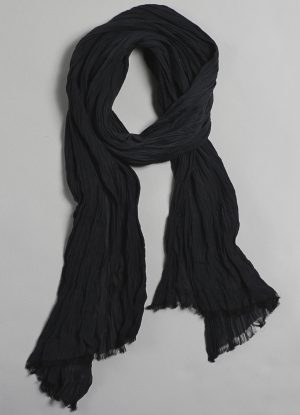 Silk Cotton Crinkle Scarf in Black