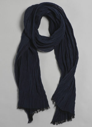 Silk Cotton Crinkle Scarf in Midnight Blue