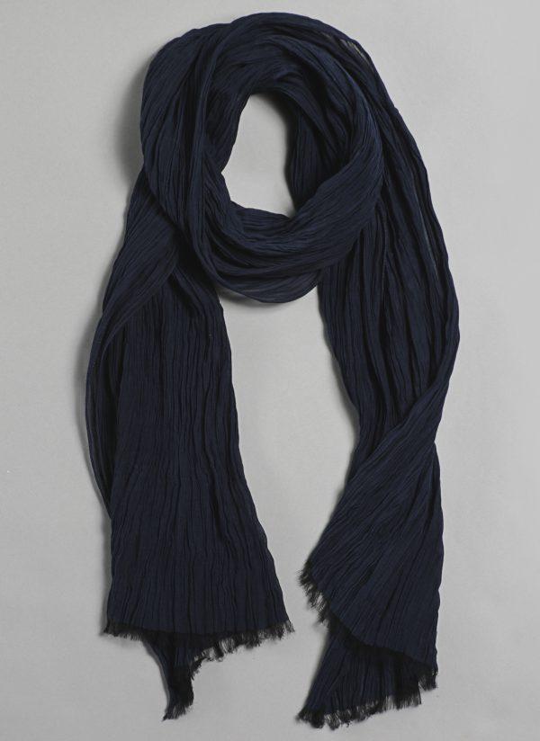 Silk Cotton Crinkle Scarf in Midnight Blue