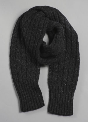 Donegal Mohair, Angora, & Merino Tube Cable Scarf in Charcoal