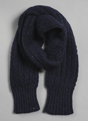 Donegal Mohair, Angora, & Merino Tube Cable Scarf in Midnight Blue