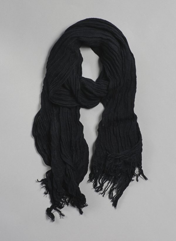 Hand Dyed Selvedge Scarf in Black