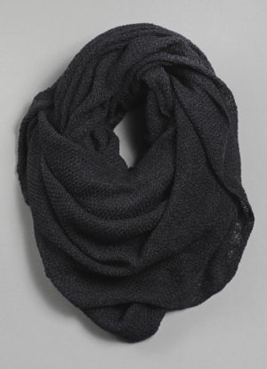 Silk Cashmere Circular Scarf in Charcoal