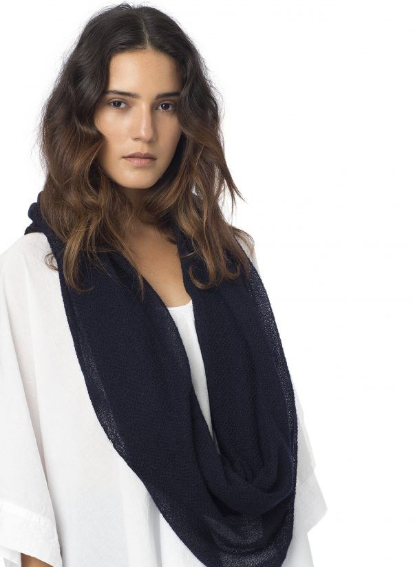 Silk Cashmere Circular Scarf in Midnight Blue