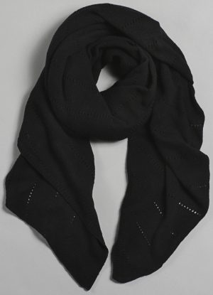 Cashmere Over-Sized V-Knit Repeat Scarf in Black