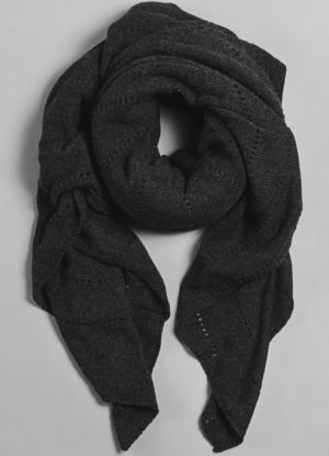 Cashmere Over-Sized V-Knit Repeat Scarf in Charcoal