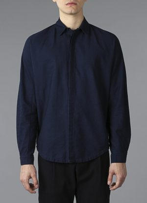 Long Sleeve Raglan Shirt In Indigo Denim