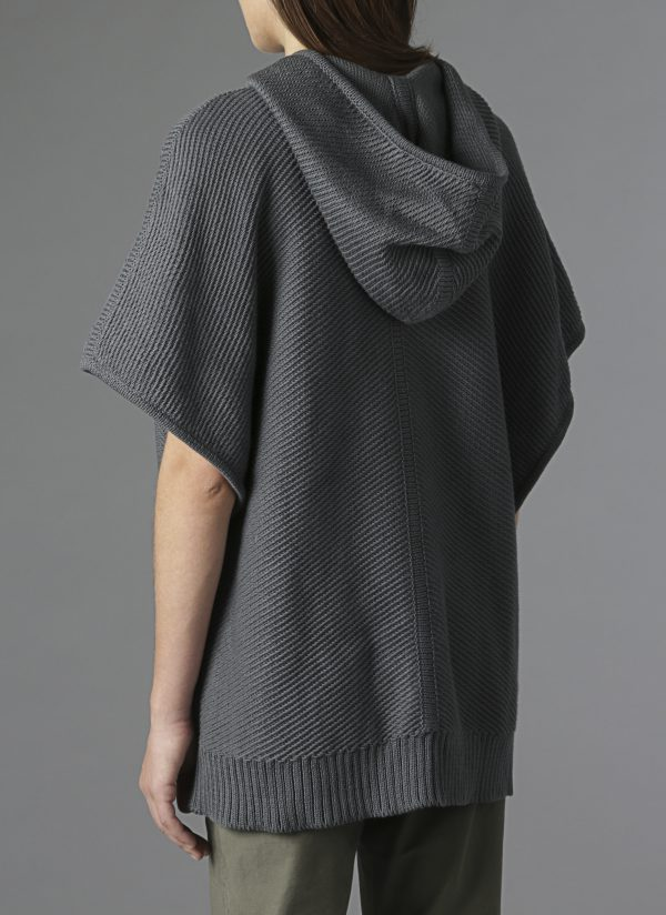 Hooded Diagonal Stitch Sweater Poncho In Charcoal