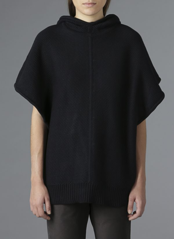 Hooded Diagonal Stitch Sweater Poncho in Midnight Front View