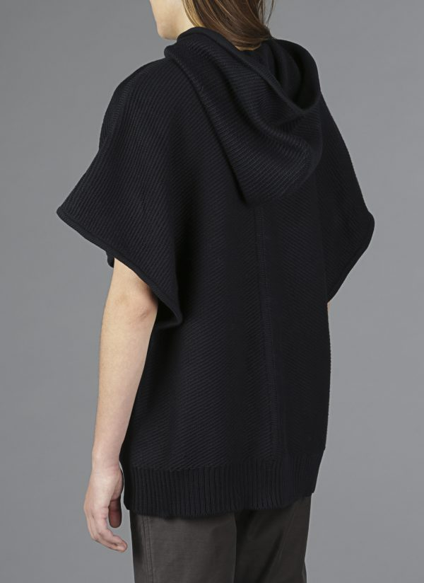 Hooded Diagonal Stitch Sweater Poncho in Midnight Back View