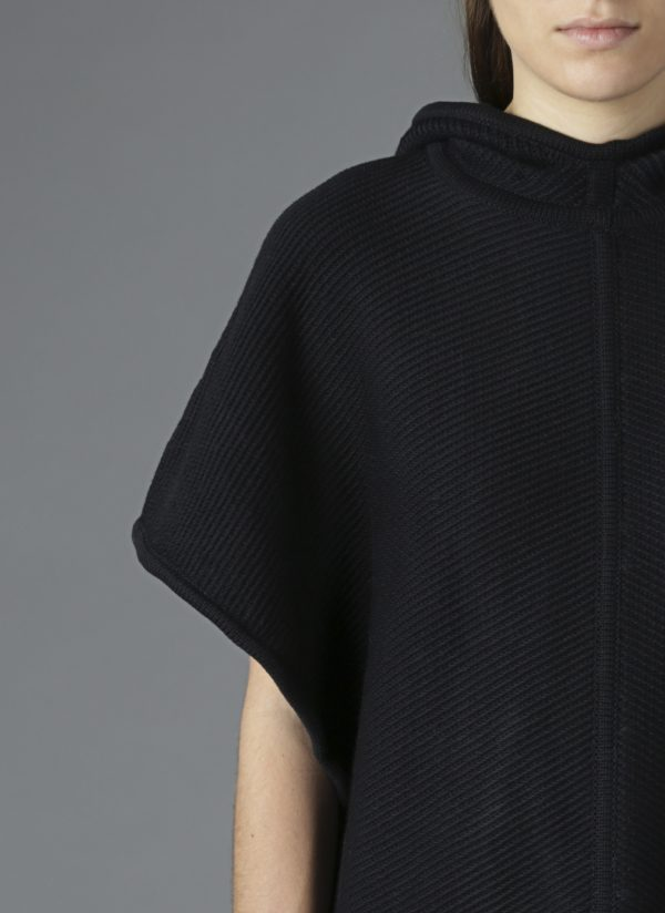 Hooded Diagonal Stitch Sweater Poncho in Midnight