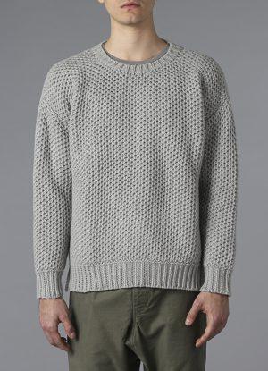 Lanecardate Wool Crewneck Sweater in Fog
